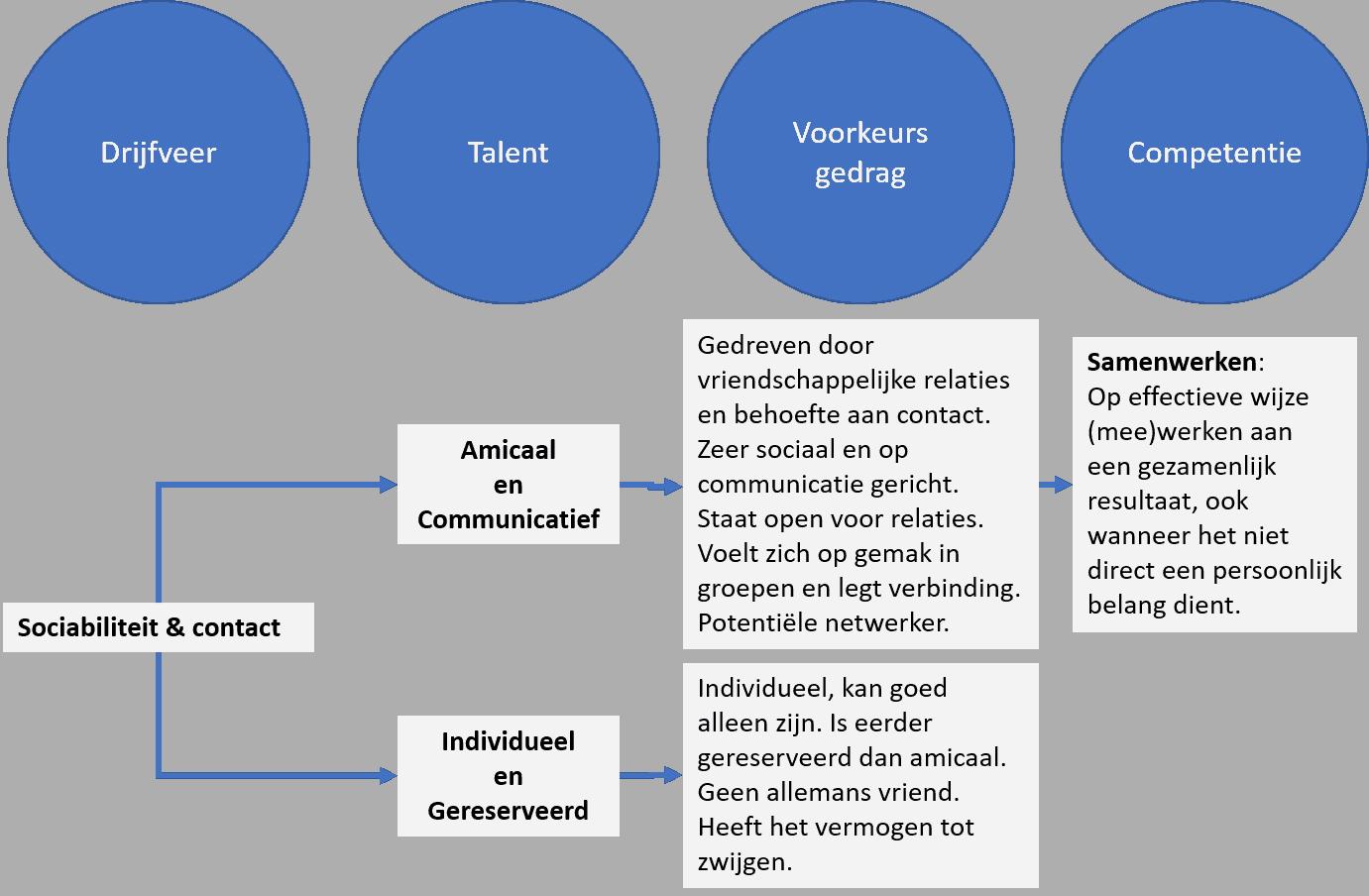 Relatie Drijfveer, Talent, Voorkeursgedrag en Competentie